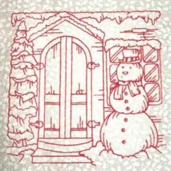 Redwork Winter Scene embroidery design