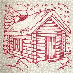 Redwork Winter Cabin embroidery design