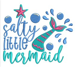 Salty Little Mermaid embroidery design