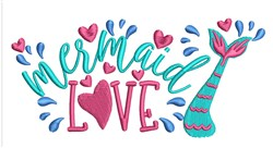 Mermaid Love embroidery design