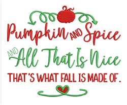 Pumpkin And Spice embroidery design
