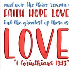 1 Corinthians 13:13 embroidery design