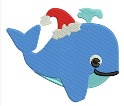 Christmas Whale embroidery design
