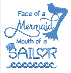 Face Of Mermaid embroidery design