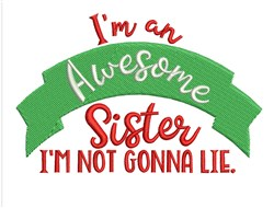 Awesome Sister embroidery design