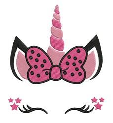 Unicorn Head & Bow embroidery design