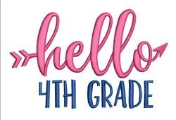 Hello 4th Grade embroidery design