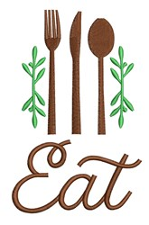 Eat embroidery design