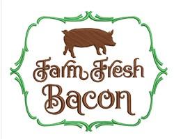 Farm Fresh Bacon embroidery design