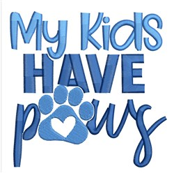 Kids Have Paws embroidery design