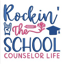 Rocking School Counselor embroidery design