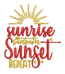 Sunrise Sunburn Sunset embroidery design