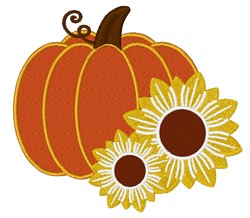 Pumpkin With Sunflowers embroidery design