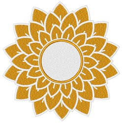 Solid Sunflower Monogram Frame embroidery design