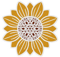 Sunflower With Decorative Center embroidery design