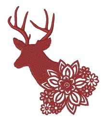Floral Buck Silhouette embroidery design