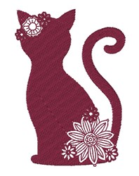 Floral Cat Silhouette embroidery design