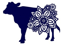 Floral Cow Silhouette embroidery design