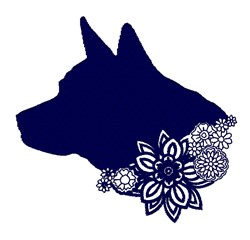 Floral Dog Silhouette embroidery design