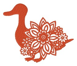 Floral Duck Silhouette embroidery design
