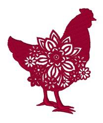 Floral Farm Chicken embroidery design