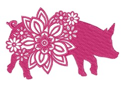 Floral Farm Pig embroidery design