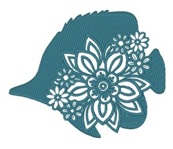 Floral Angel Fish embroidery design