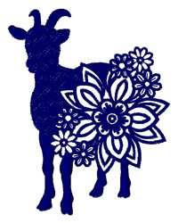 Floral Goat embroidery design
