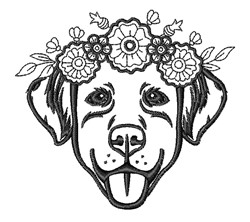 Floral Headband Dog embroidery design