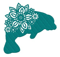 Floral Manatee embroidery design