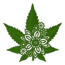 Floral Marijuana Leaf embroidery design