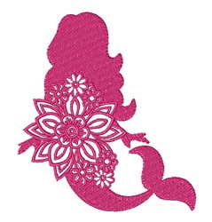 Floral Mermaid embroidery design
