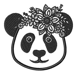 Floral Kawaii Panda embroidery design