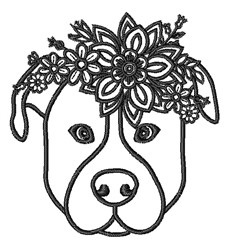 Floral Pitbull Outline embroidery design