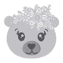 Floral Kawaii Polar Bear embroidery design