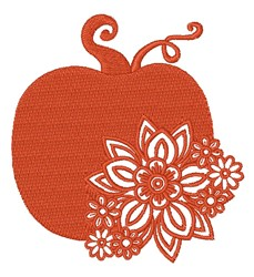 Floral Pumpkin Silhouette embroidery design