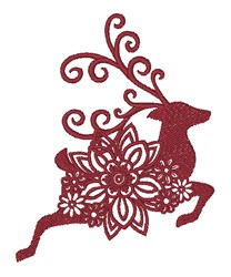 Floral Reindeer Silhouette embroidery design