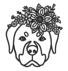 Floral Rottweiler Outline embroidery design