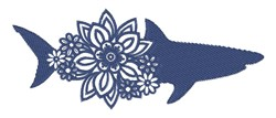Floral Shark Silhouette embroidery design