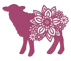 Floral Sheep Silhouette embroidery design