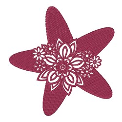 Floral Starfish Silhouette embroidery design