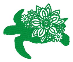 Floral Turtle Silhouette embroidery design