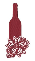 Floral Wine Bottle embroidery design
