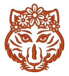 Girl Tiger Outline embroidery design