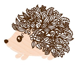 Kawaii Floral Hedgehog embroidery design
