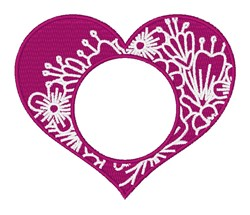 Floral Heart Monogram Frame embroidery design