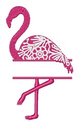 Floral Flamingo Name Drop embroidery design