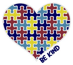 Autism Heart Be Kind embroidery design