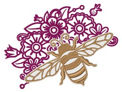 Bee & Flowers Outline embroidery design
