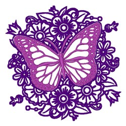 Butterfly With Flowers embroidery design